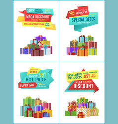 Banners with gifts for shop clearance sale promo vector