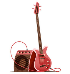 bass guitar with amplifier vector image