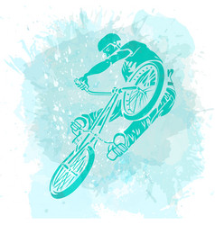 Bike rider jumping on a artistic abstract vector