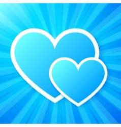 Blue paper hearts on shining background vector