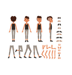 Boy character creation set student boy vector