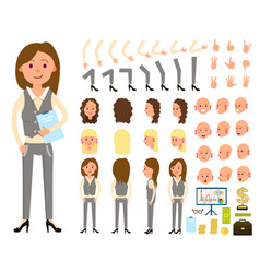 businesswoman person character creation set vector image