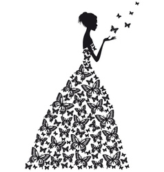 butterfly woman vector image