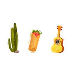 Cactus and guitar as mexican symbols and attribute vector
