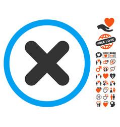Cancel icon with valentine bonus vector