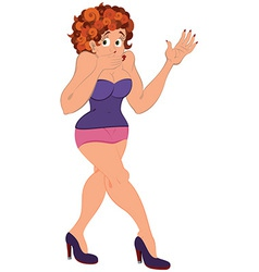 Cartoon girl in pink mini skirt covering her mouth vector