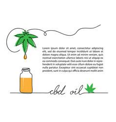 cbd oil drop bottle hemp or cannabis leaf one vector image
