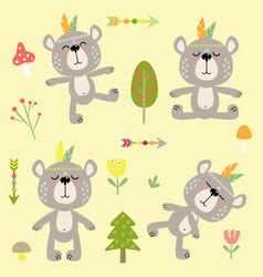 Cheerful set of animal drawings vector