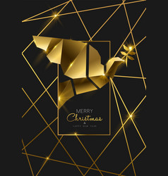 christmas and new year 3d luxury gold bird card vector image