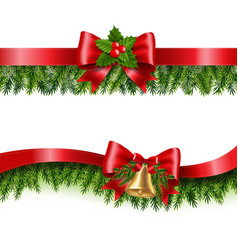 christmas ribbon and fir tree white background vector image