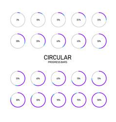 Collection circular futuristic progress vector