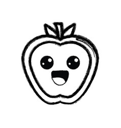 contour kawaii cute happy apple fruit vector image vector image