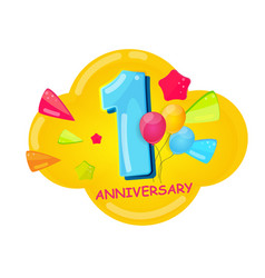 cute cartoon template 1 years anniversary vector image