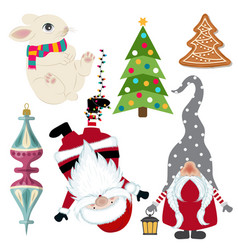 Cute christmas collection isolated on white vector