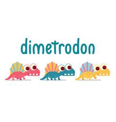 Cute dimetrodon walking animal life vector