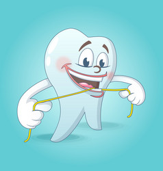 Cute tooth with floss concept background cartoon vector