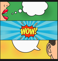 dialog girl and guy with speech bubble - wow vector image