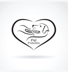 Dog and hand in the heart on white background vector