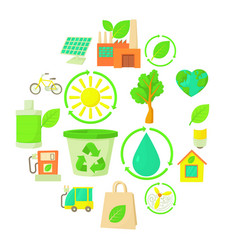 Ecology items icons set cartoon style vector