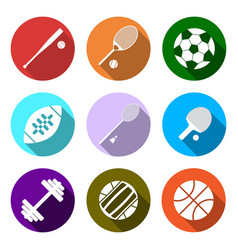 Equipment for sports flat sports objects set vector