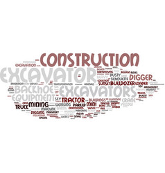 Excavators word cloud concept vector