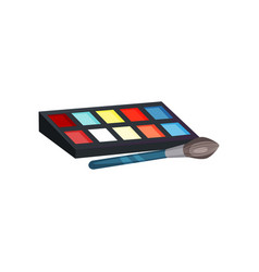 Eye shadow palette with different colors and brush vector