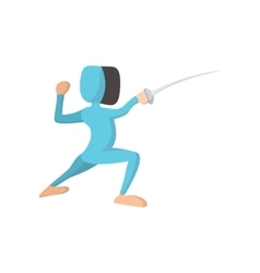 Fencing athlete cartoon icon vector image