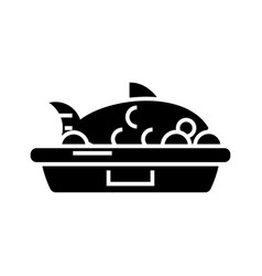 fish food icon black sign on vector image