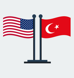 Flag of united states and turkeyflag stand vector