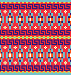 Folk geometric seamless red pattern with meander vector