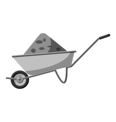 Gardening wheelbarrow icon gray monochrome style vector image