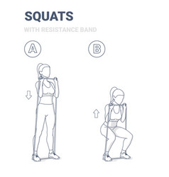 Girl doing squats home workout exercise vector
