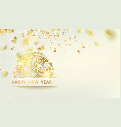 golden confetti falls on background a pig vector image