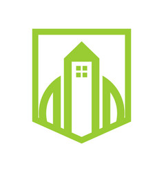 Green shield property simple graphic vector