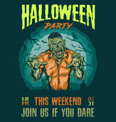 halloween party colorful advertising poster vector image