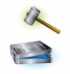 Hammer and case vector