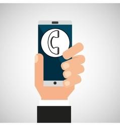 hand smartphone network social vector image