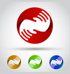 Hands circle set conceptual symbol vector