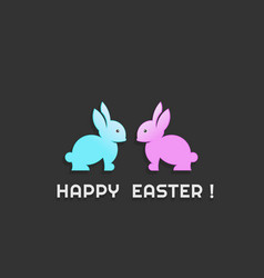 happy easter bunnies couple vector image