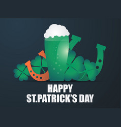 happy st patricks day holiday symbols a glass of vector image