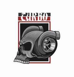 Head turbo skull t shirt design vector