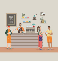 Interior coffee shop with barista and cafe vector