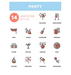 leisure concept party - line design icons set vector image