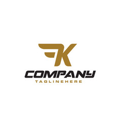 Letter k logo with simple wings design element vector