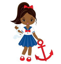 little african american girl with anchor vector image