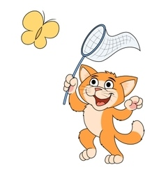 Little cat is catching butterfly 2 vector