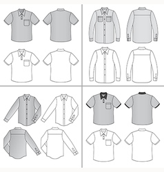 Long short sleeved mans buttoned shirt vector image