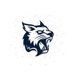 Lynx head face for retro logos emblems vector