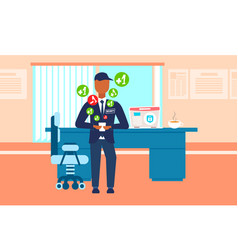 Male security guard worker using mobile vector
