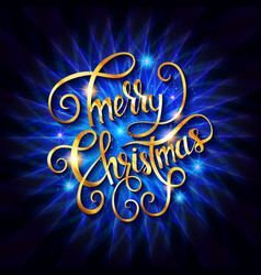 merry christmas golden text vector image